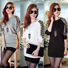Women Batwing Top Dolman Loose Casual Leopard Print Shirt Long Sleeve Blouse 1pc
