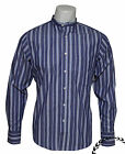 RELCO CLASSIC STRIPED GRANDAD SHIRT GD9 - Blue - RETRO, INDIE, MOD - MEDIUM