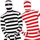 Striped Skinz Bodysuit Adults Fancy Dress Stag Hen Mens Ladies Costumes Outfits