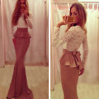 New Long Sleeve Mermaid Prom Evening Party Beauty Pageant dress Wedding Gowns