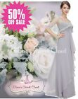 BNWT VICTORIA Silver Grey Lace Chiffon Maxi Bridesmaid Ballgown Dress UK 8 -14