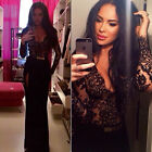 Women Deep V Lace Splicing Long Sleeve Bodycon Clubwear Slit Maxi Long Dress