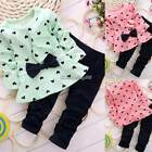 2PCS Baby Kids Girls Boys Toddlers Cute Top+Long Pants Set Clothes 2-4 Years