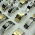 10pcs-100pcs wholesale frosted gold & silver stainless steel rings free shipping