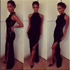 Sexy Women Lace Hollow Slim Bodycon Bandage High-slit Cocktail Maxi Dress  Prom