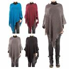 Hidden Fashion Womens Ladies Multi Knitted Fringe Tasselled Poncho Cape