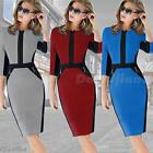 Lady Colorblock Cotton Stretch Tunic Wear To Work Party Pencil Sheath Dress DJNG