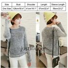 Trendy Women Crew Neck Long Sleeve Fluffy Sweater Jumper Knit Wear Mohair Fabric