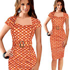 Womens Vintage Belted Check Work Wear Tunic Cocktail Party Bodycon Pencil Dress