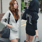 Korean Style Fashion Women's Casual Sports Wing Printing Hooded Dress Coat Tops