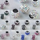 5x Silver Plated Crystal European Large Hole Barrel Beads Fit Charm Bracelet DIY