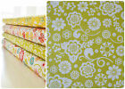 Riley Blake 100% Cotton Quilting Fabric Fancy Floral Green Trailing Flowers