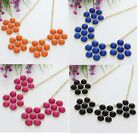 1 Pc Alloy Resin Colorful Flower Beads Chain Necklace A1249