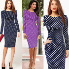 NEW Vintage Rockabilly 50s 60s Polka Dots Pin Up Bodycon Formal Dress Plus Szie