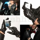Winter Warm SEXY Men Faux Leather Coral Fleece Lined Black Gloves Touch Screen