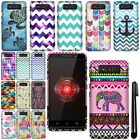 For Motorola Droid Mini XT1030 Rubberized PATTERN HARD Case Phone Cover + Pen