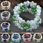 """1PC Faceted Crystal Glass Beads Bracelet 7""""L Fashion Jewelry Pick Colors Gift"""