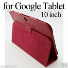 Flip PU Faux Leather Folio Case Stand Cover Stylus for Google Android Tablet 10""