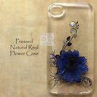 HGU Glitter Pressed Real Flower Bling Hard Skin Case Cover For Samsung iPhone