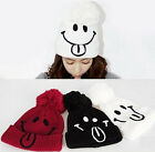 Women's Winter Warm Crochet Knitting Smile Cute Beret Ski Beanie Ball Caps Hats