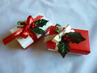 2 Christmas Red & White Favour Boxes with Chocolates for your Christmas Table