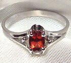 Genuine Faceted Oval Red Garnet .925 Sterling Silver Ring -- RN812