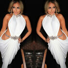 Sexy Womens White Sleeveless Clubwear Outfit Bodycon Bandage Party Evening Dress