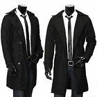 Mens Winter Parka Long Black Double Breasted Trench Coat Overcoat Jackets