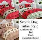 5pc SCOTTIE DOGS Tartan Style DUVET COVER SET + CUSHION COVER + BED RUNNER