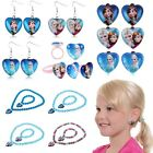 Frozen Elsa Anna Heart Pendant Necklace Bead Charm Bracelet Dangle/Clip Earrings