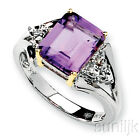 Amethyst and Diamond Ring Sterling Silver & 14K