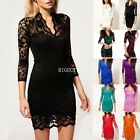 New Sexy Womens V neck Lace 3/4 Sleeve Evening Cocktail Evening Party Dress