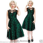 RKV8 Voodoo Vixen Green Lace Satin Rockabilly Pin Up Vintage Dress 50s Retro