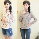 Sexy Womens Long Sleeve Lapel Tops Button Down Cotton Floral T-Shirt Blouse NEW