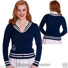 RKP55 Hell Bunny Starboard Nautical Sailor Blue Cardigan Rockabilly Pin Up 50s