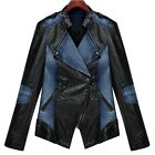 Womens Jeans Pu leather splicing Slim Coat Jacket Outwear Waistcoat S/M/L/XL