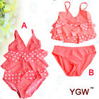YGM BRAND Swim Bikini One pice Cuter Girls Kid Swimsuit Skirt Swimwear SZ 2-13Y