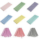 Beautful Biodegradable Paper Drinking Straws Striped Birthday Wedding Party