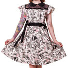 Banned Apparel Bats & Butterflies White Pink & Black Ruffle & Mesh Style Dress