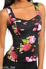 Black Floral Sweetheart Multi Strap Back Sleeveless Tank Top S/M/L/XL