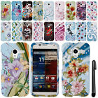 For Motorola Moto X Phone XT1058 Rubberized PATTERN HARD Case Phone Cover + Pen