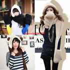 3 in 1 Girls Winter Warm Plush Long Hooded Hat Cap Hooded Scarves Gloves Gift