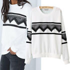 Fashion Europe Womens Ethnic Print Blouse Hoodie Sweat Sweatshirt