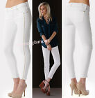 $215 7 For All Mankind Clean White Slim Illusion Cropped Skinny Leg Zips Jeans