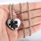 22'' Men Chain Unisex Couple Puzzle Heart Love Stainless Steel PENDANT Necklaces