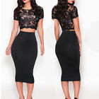 Sexy Women Party Dress Clubwear Cocktail Evening Bodycon Bandage Lace Dress