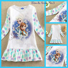 US0522 White Elsa Anna Frozen Christmas Easter Party Gift Girls Dress SZ 3 to 8