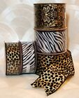 "NEW Ribbon Wired CHOOSE Leopard Zebra 30 Feet 2 1/2"" or 1 1/2"" Wide 10 Yd Roll"