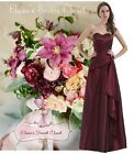 KIKI Claret Burgundy Satin Tafetta Maxi Prom Bridesmaid Dress UK 6 - 16