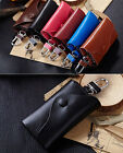 Genuine Leather Woman Lady Man Unisex Door Car Key Chain Ring Case Holder Bag